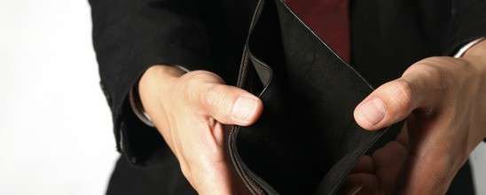 empty wallet with business hands